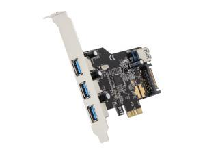 Koutech 4-Port USB 3.0 PCI Express (x1) (3xExt+1xInt) with 15-pin SATA Power Connector Model IO-PEU437