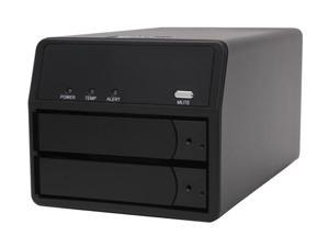 SANS DIGITAL MobileSTOR MS2UTN+B 2 Bay SATA to eSATA/USB 2.0 RAID 0/1/SAFE33/50 Enclosure (Black)