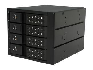 "iStarUSA BPN-DE340SS-BLACK 3 x 5.25"" to 4 x 3.5"" SAS / SATA 6.0 Gb/s Trayless Hot-Swap Cage - Black Handle"