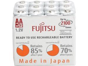 Fujitsu AA 2000mAh 2100 Cycles Ni-MH Pre-Charged Rechargeable Batteries 12 Pack (Made in Japan)