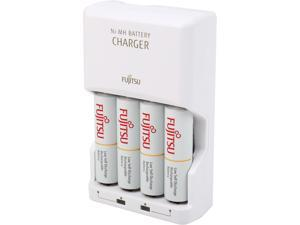Fujitsu AA/AAA Ni-MH Battery Charger Kit with 4 Pack AA 2000mAh Rechargeable Batteries (Made in Japan)