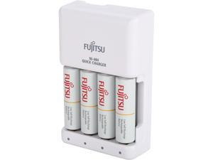 Fujitsu Smart Cut-Off Advance Individual AA/AAA Ni-MH Battery 4-hour Quick Charger Kit with 4-Pack AA 1900mAh Rechargeable Batteries