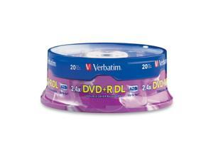 Verbatim 8.5GB 2.4X DVD+R DL 20 Packs Branded Disc Model 95310