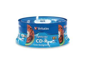Verbatim 700MB 52X CD-R LightScribe in Color Background 25 Packs Disc w/ 5 Colors