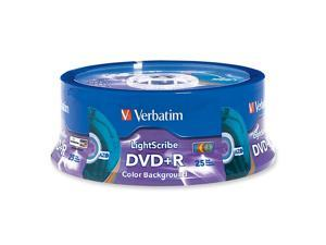 Verbatim 4.7GB 16X DVD+R LightScribe 25 Packs 5 Colors Disc Model 96432