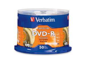 Verbatim 4.7GB 16X DVD-R LightScribe 50 Packs Disc Model 96166