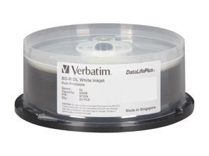 Verbatim 50GB 6X BD-R DL Inkjet Printable 25 Packs Disc Model 97334