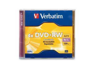 Verbatim DVD+RW 4.7GB 4X Branded 1pk Jewel Case