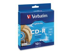 Verbatim 700MB 52X CD-R LightScribe 10 Packs Disc Model 95115