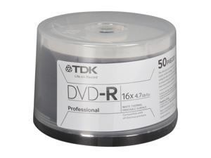 TDK 4.7GB 16X DVD-R White Thermal Hub Printable Model 48933