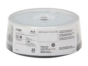 TDK 25GB 6X BD-R White Thermal Hub Printable 25 Packs Disc Model 61704