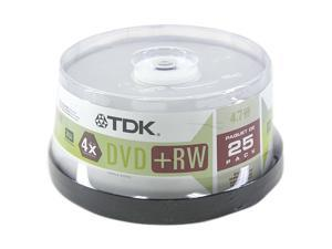 TDK 4.7GB 4X DVD+RW 25 Packs Disc Model 48332
