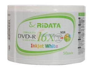 RiDATA 4.7GB 16X DVD-R Inkjet White 50 Packs Disc Model DRD-4716-RDIW50N2 - OEM