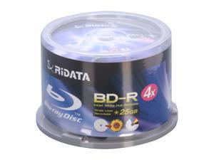 RiDATA 25GB 4X BD-R Inkjet white hub-printable 50 Packs Disc Model BDR-254-RDIWN-CB50