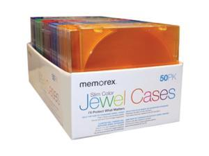 Memorex 01951 Slim CD Jewel Cases Clear, 50 Pack