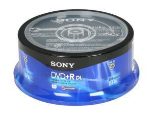 SONY 8.5GB 8X DVD+R DL 25 Packs Disc Model 25DPR85RS2