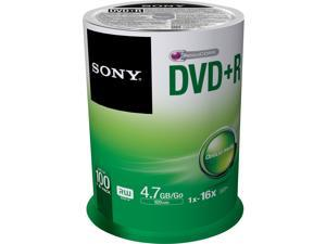 SONY 4.7GB 16X DVD+R 100 Packs Spindle Disc Model 100DPR47SP