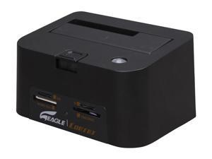 EAGLE ET-CSKESU2-BK Black Drive Docking Station w/Card Reader, USB Hub and OTB