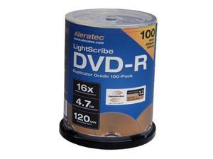 Aleratec 4.7GB 16X DVD-R LightScribe V1.2 100 Packs Disc Model 230114