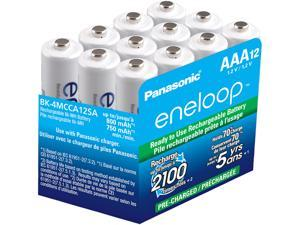 Panasonic BK-4MCCA12SA Eneloop AAA 2100 Cycle Ni-MH Pre-Charged Rechargeable Batteries, 12 Pack