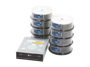 Optical Quantum 25GB 4X BD-R 200 Packs (8 x 25 Packs) Logo Top Disc with LG WH10LS30 SATA 8x Blu-Ray Burner w/LightScribe ...