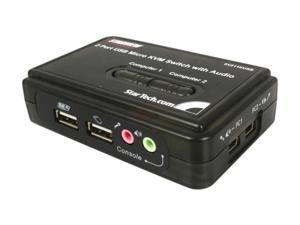 StarTech SV211KUSB 2 Port Mini USB KVM Kit with Cables and Audio Switching