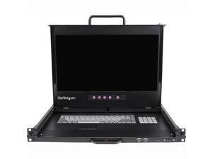 "StarTech RACKCOND17HD 1U 17"" HD 1080p Dual Rail Rackmount LCD Console w/ Fingerprint Reader and Front USB Hub"