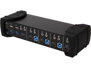 SYBA SY-KVM31036 USB 3.0 4-port KVM Switch with 2-port USB 3.0 Hub, Supports HDMI, HML, and Audio Connections