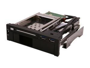 "SYBA 5.25"" Dual Bay Mobile Rack for both 2.5"" and 3.25"" SATA HDD, Plus 2 USB 3.0 Ports"