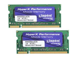 HyperX 2GB (2 x 1GB) 200-Pin DDR2 SO-DIMM DDR2 800 (PC2 6400) Dual Channel Kit Laptop Memory