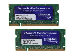 HyperX 2GB (2 x 1GB) 200-Pin DDR2 SO-DIMM DDR2 667 (PC2 5300) Dual Channel Kit Laptop Memory Model KHX5300S2LLK2/2G