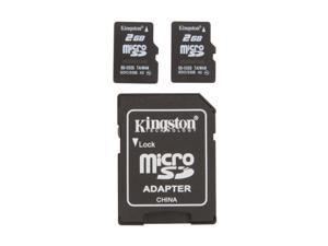 Kingston 4GB (2GB x 2) MicroSD Flash Card Twin Pack (2pcs) One Adapter
