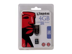 Kingston 4GB microSDHC Flash Card w/ USB Reader Model FCR-MRB+SDC4/4GB