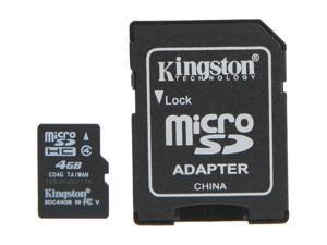 Kingston 4GB microSDHC Flash Card W/ E-Tail clamshell Model SDC4/4GBET