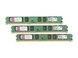 Kingston 6GB (3 x 2GB) 240-Pin DDR3 SDRAM DDR3 1333 (PC3 10666) Triple Channel Kit Desktop Memory Model KVR1333D3K3/6GR