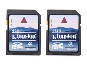 Kingston 4GB Secure Digital High-Capacity (SDHC) Flash Card Twin Pack (2x4GB) Model SD4/4GB-2P