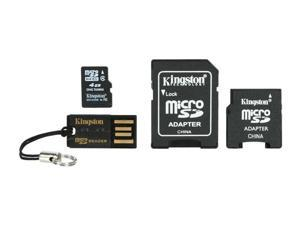Kingston 4GB microSDHC Flash Card with Adapters & USB Reader Model MBLYG2/4GB