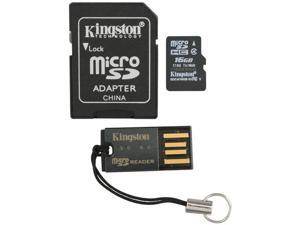 Kingston 16GB microSDHC Flash Card Bundle Kit (with a full-size SD adapter and USB reader) Model MBLY4G2/16GB