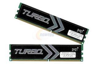 PQI TURBO 1GB (2 x 512MB) 240-Pin DDR2 SDRAM DDR2 800 (PC2 6400) Dual Channel Kit Desktop Memory Model PQI26400-1GDB