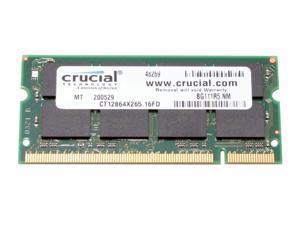 Crucial 1GB 200-Pin DDR SO-DIMM DDR 266 (PC 2100) Laptop Memory Model CT12864X265 - OEM