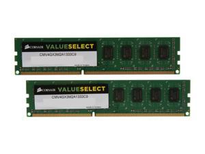 CORSAIR ValueSelect 4GB (2 x 2GB) 240-Pin DDR3 SDRAM DDR3 1333 Desktop Memory Model CMV4GX3M2A1333C9