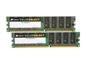 CORSAIR 2GB (2 x 1GB) 184-Pin DDR SDRAM DDR 400 (PC 3200) Dual Channel Kit Desktop Memory Model VS2GBKIT400C3