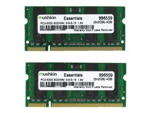 Mushkin Enhanced Essentials 4GB (2 x 2GB) 200-Pin DDR2 SO-DIMM DDR2 667 (PC2 5300) Dual Channel Kit Laptop Memory Model 996559