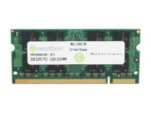 Rendition by Crucial 2GB 200-Pin DDR2 SO-DIMM DDR2 667 (PC2 5300) Laptop Memory Model RM25664AC667