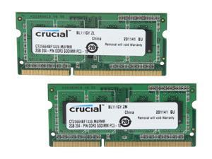 Crucial 4GB (2 x 2GB) 204-Pin DDR3 SO-DIMM DDR3 1333 (PC3 10600) Laptop Memory