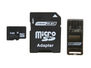 DANE-ELEC 4GB microSDHC Flash Card Universal Connectivity Kit with SD & USB Adapter Model DA-3IN1-04G-R