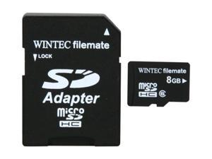 Wintec FileMate 8GB microSDHC Mobile Media Flash Card with SDHC Adapter Model 3FMUSD8GBC6-R