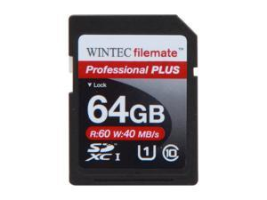 Wintec Professional PLUS 64GB Secure Digital Extended Capacity (SDXC) Flash Card Model 3FMSD64GBU1PI-R