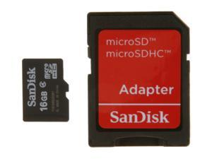 SanDisk 16GB microSDHC Flash Card w/ Adapter