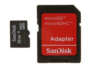 SanDisk 32GB microSDHC Flash Card w/ Adapter Model SDSDQM-032G-B35A